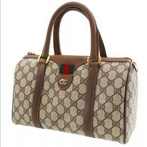 Authentic Gucci brown coated canvas satchel bag